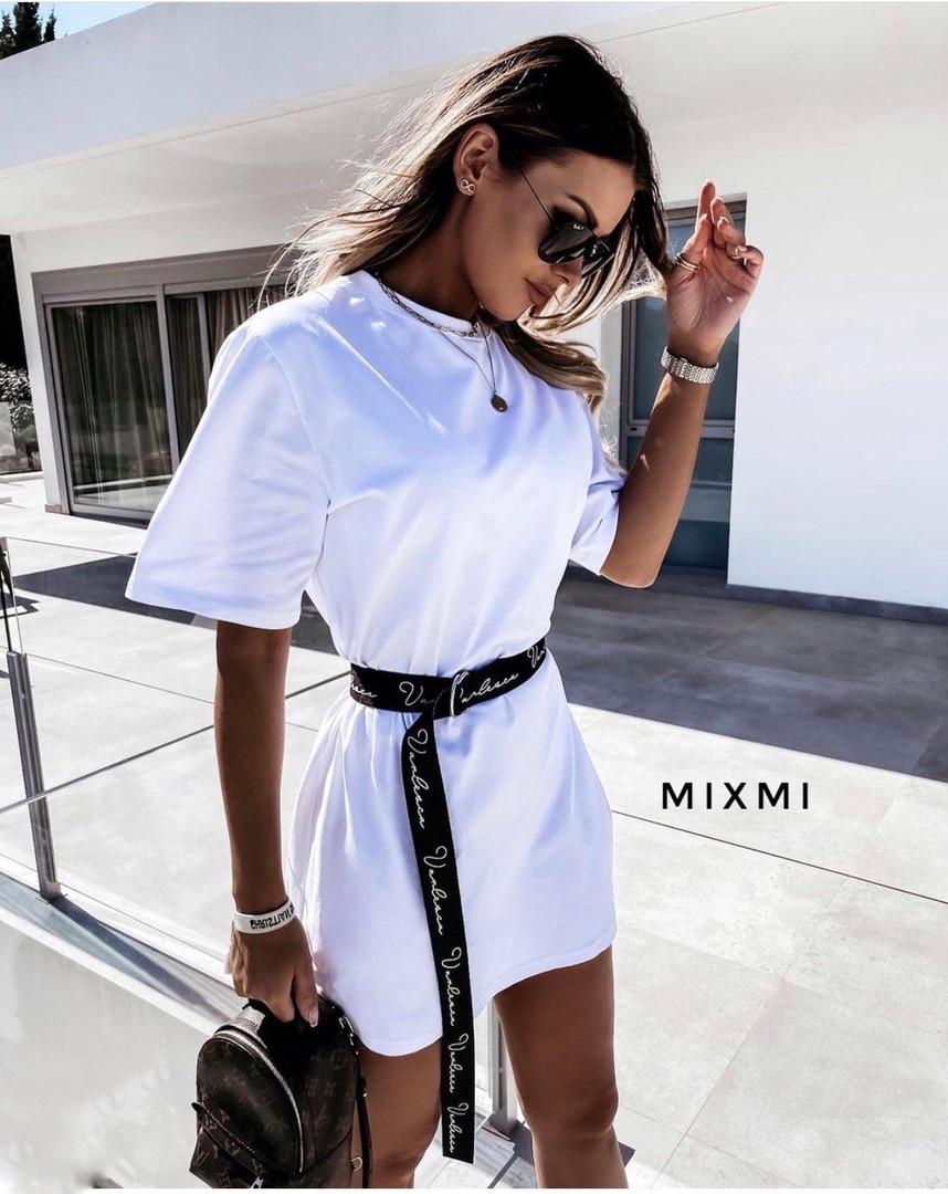 Женское платье - футболка, турецкая двунить, р-р универсальный 42-46 (белый)