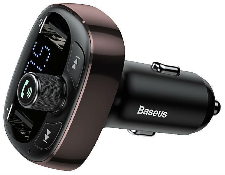 FM трансмітер модулятор Baseus S-09 T-Typed Bluetooth MP3 c функцією зарядного пристрою Coffee (CCALL-TM12)