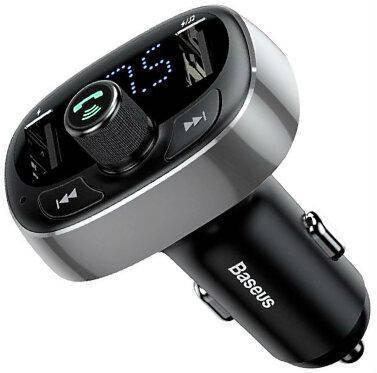 FM трансмиттер модулятор Baseus S-09 T-Typed Bluetooth MP3 c функцией зарядного устройства Графитовый, фото 2