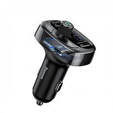FM трансмиттер модулятор Baseus S-09 T-Typed Bluetooth MP3 c функцией зарядного устройства Черный (CCALL-TM01), фото 2