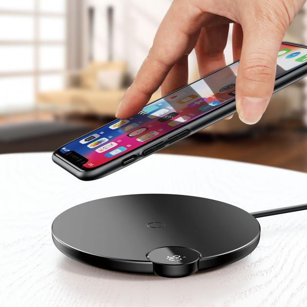 Беспроводное зарядное устройство Baseus Digital LED Display  Black (WXSX-01)
