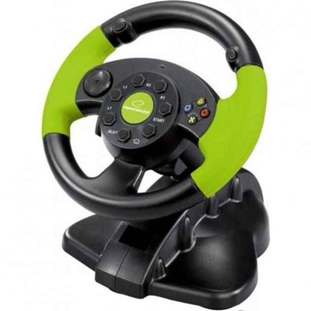 Ігровий провідний кермо Esperanza USB, PC/PS3/Xbox 360 Black/Green (EG104)