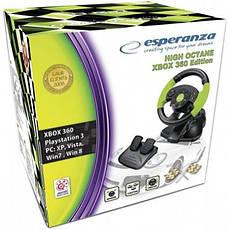Ігровий провідний кермо Esperanza USB, PC/PS3/Xbox 360 Black/Green (EG104), фото 3