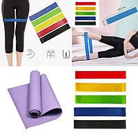 Фитнес коврик и резинки для фитнеса спортивный комплект Резиновые эспандеры и коремат Набор для йоги и спорта