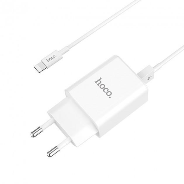 Мережевий зарядний пристрій Hoco C62A Victoria c кабелем Lightning (2USB, 2.1 A) White