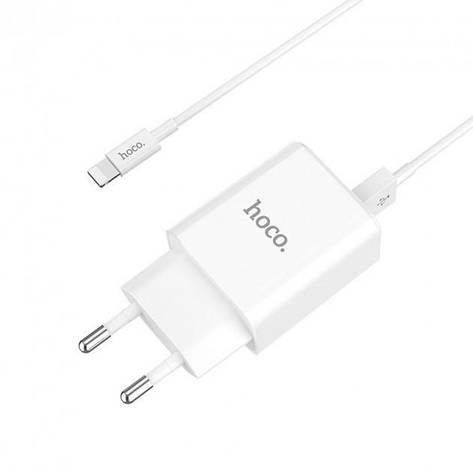 Мережевий зарядний пристрій Hoco C62A Victoria c кабелем Lightning (2USB, 2.1 A) White, фото 2