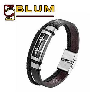 Багатошаровий шкіряний браслет 20 см срібний BLUM (ЕКГ)