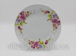 Тарілка дрібна десертна керамічна біла кольорова з малюнком закусочна Венеція в упаковці 12 штук D 20 cm