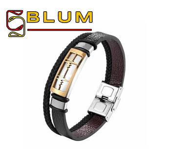 Багатошаровий шкіряний браслет 20 см золотий BLUM (ЕКГ)