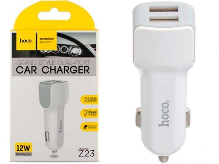 Автомобільний зарядний пристрій HOCO Z23 ~ 2USB 2.4 A (White)