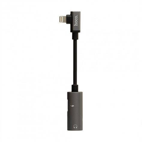 Переходник Hoco LS18 Dual Lightning audio converter Lightning-Lightning Gray (LS18), фото 2