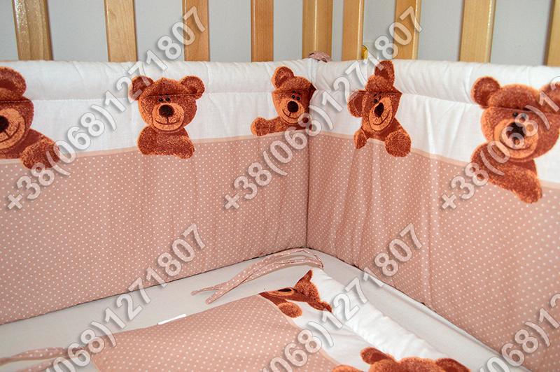 Бортики в детскую кроватку защита бампер Мишка точка бежевый