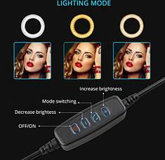 Кільцева лампа Professional Live Stream Світлодіодне LED кільце для блогерів 16 см без штатива, фото 3