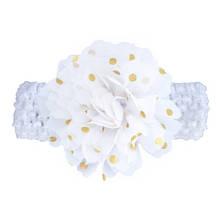 Детская белая повязка на голову - окружность головы около 40-52см, диаметр цветка 9см