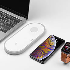 Беспроводное зарядное устройство Hoco CW20 Wireless Charger 2 в 1 для Apple iPhone и Apple Watch White, фото 2
