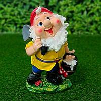 """Садовая фигура """"Гном с лопатой и ведром воды """" 38 см. КАЧЕСТВО!!!"""