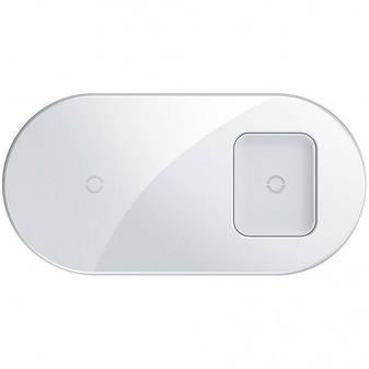 Бездротове зарядний пристрій Baseus Simple 2in1 (WXJK-02) White (Phone + Pods), фото 2