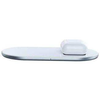 Беспроводное зарядное устройство Baseus Simple 2in1 (WXJK-02) White (Phone + Pods), фото 2