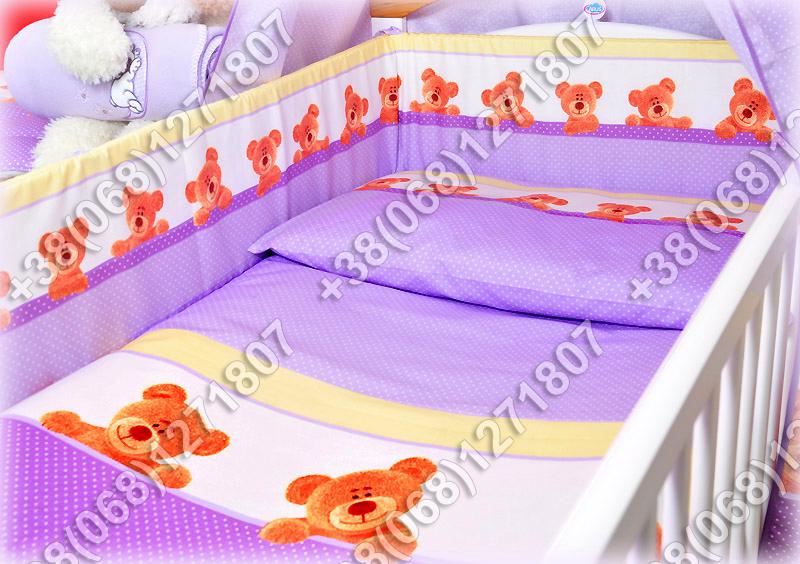 Бортики в детскую кроватку защита бампер Мишка точка фиолетовый