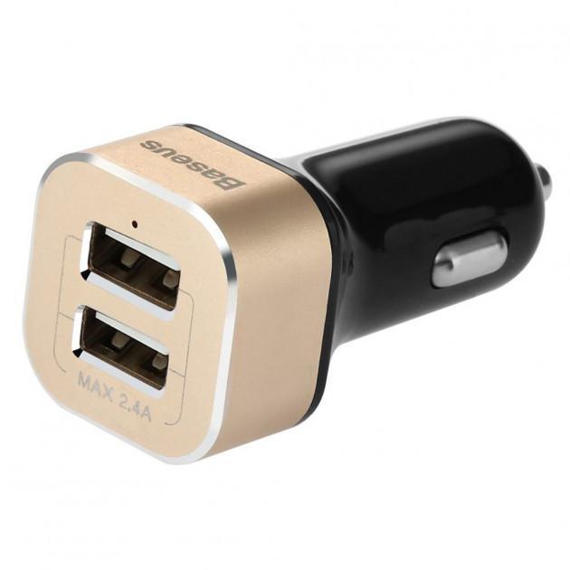 Автомобільний зарядний пристрій Baseus Smart Voyage 2.4 A black-gold