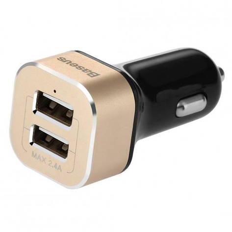 Автомобільний зарядний пристрій Baseus Smart Voyage 2.4 A black-gold, фото 2