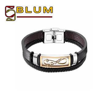 Шкіряний браслет 20 см золотий BLUM (Forever Infinity)