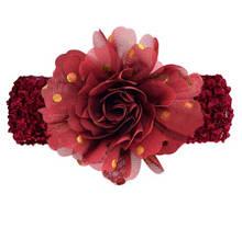 Детская бордовая повязка на голову - окружность головы около 40-52см, диаметр цветка 9см