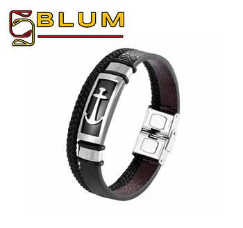 Шкіряний браслет 20 см срібний BLUM (Якір)