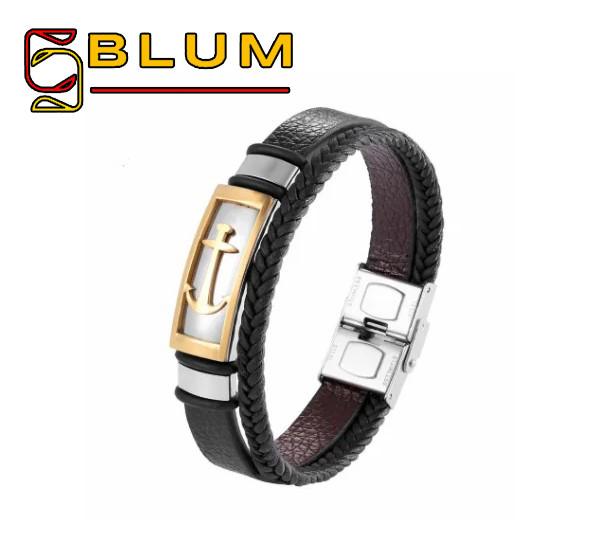 Шкіряний браслет 20 см золотий BLUM (Якір)