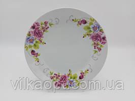 Тарілка дрібна закусочна керамічна біла кольорова з малюнком Венеція обідня тарілка для других страв 23cm