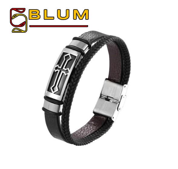 Шкіряний браслет 20 см срібний BLUM (Хрест)