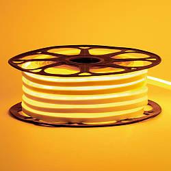 Стрічка неонова жовта 12V AVT-smd2835 120LED/m 6В/мт 6х12мм IP65 силікон 1м