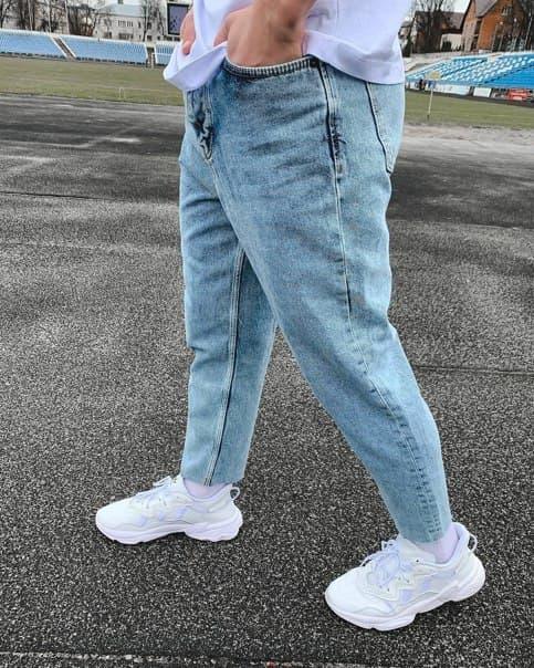 Блакитні чоловічі джинси МОМ Широкі джинси чоловічі