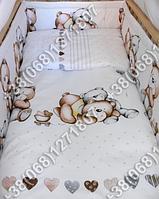 Бортики в детскую кроватку защита бампер Мишка сердце