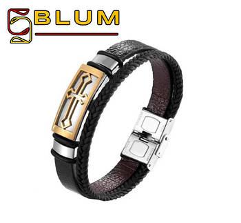 Шкіряний браслет 20 см золотий BLUM (Хрест)