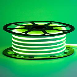 Стрічка неонова зелена 12V AVT-smd2835 120LED/m 6В/мт 6х12мм IP65 силікон 1м