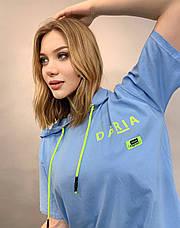 Спортивна чорна жіноча футболка з капюшоном Pakkoo, фото 3