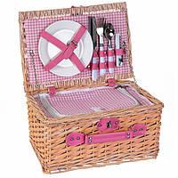 Набор для пикника на 2 персоны в корзине (розовый)
