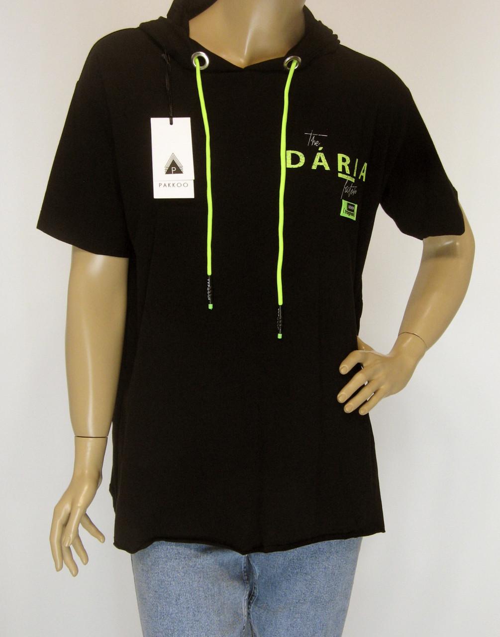 Спортивна чорна жіноча футболка з капюшоном Pakkoo