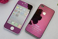 Защитное стекло для iPhone 4/4S (перед и зад) - HPG Mirror Tempered glass 0.3 mm (фиолетовый)