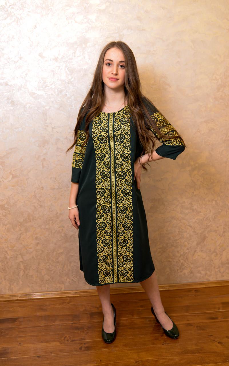 Жіночне вишите плаття зручної довжини та легкого крою🌷