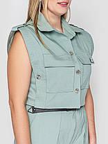 Летний молодежный женский комбинезон из стрейч-котона  большой размер 52-54 56-58 60-62 64-66, фото 2