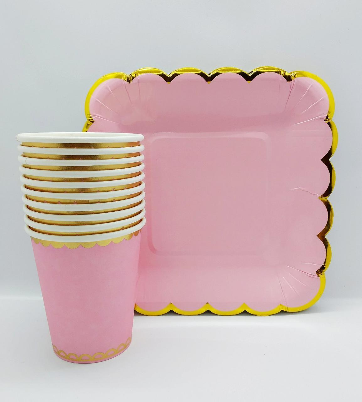 Набор праздничной  одноразовой посуды розовый с золотой полосой   .10 тарелок . 10 стаканов