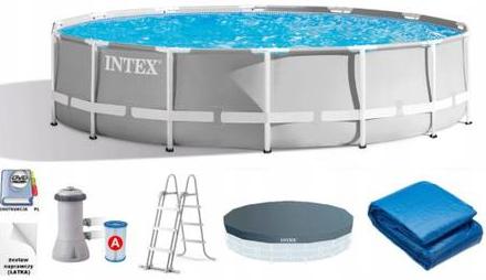 Каркасний басейн Intex 457 x 122 см (26726) насос фільтр сходи підстилка тент, фото 2