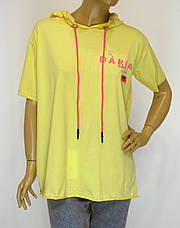 Спортивна бежева жіноча футболка з капюшоном Pakkoo, фото 2