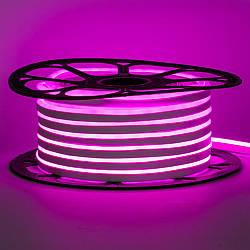 Стрічка неонова рожева 12V AVT-smd2835 120LED/m 6В/мт 6х12мм IP65 силікон