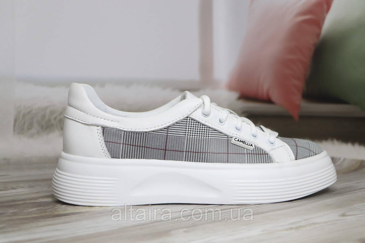 Стильные женские белые мокасины-туфли из натуральной кожи. Размеры 36-41