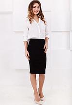 Стильная, обтягивающая трикотажная женская юбка-карандаш. Размеры 40,42,44,46. Черная