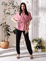 Стильний жіночий брючний костюм піджак-блузон і широкі штани, фото 1