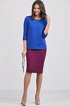Стильная, обтягивающая трикотажная женская юбка-карандаш. Размеры 40,42,44,46. Сливовая